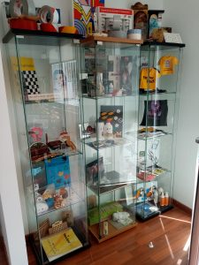 Our little display cabinets in the office with various samples